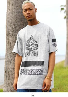 b系ヒップホップストリート系ファッションメンズレディースTシャツ【AF-TS-TS-014】≪SPADEPAISLEYTEE≫ACEFLAGエースフラッグ半袖クルーネックスペードペイズリーBOXロゴMLXL2XL大きいサイズあり黒白グレー正規品02P23Aug15