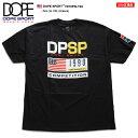 DOPE SPORT ドープスポーツ Tシャツ 半袖 メンズ レディース 黒 M L XL 2L LL 2XL 3L XXL 大きいサイズ b系 ヒップホップ ストリート系 ファッション ブランド 服 かっこいい おしゃれ 袖ロゴ 星条旗 BOXロゴ シンプル ゆったり ビッグシルエット オーバーサイズ D18FW-T23