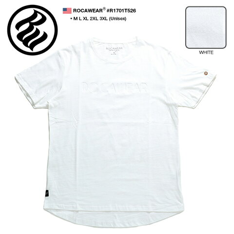 b系 ヒップホップ ストリート系 ファッション 服 メンズ レディース Tシャツ 半袖 【R1701T526】 ロカウェア ROCAWEAR ティーシャツ クルーネック エンボス加工 ブランドロゴ 白 USAモデル M L XL 2L LL 2XL 3L XXL 3XL 4L XXXL 大きいサイズ 正規品 ギフト