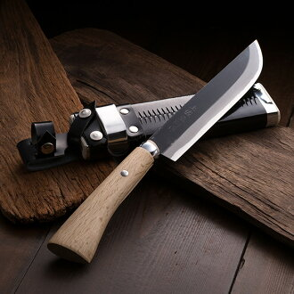 Outdoor Knife Hatchet Aogami Steeel 180mm without Guard with Sheath, Handmade by Blacksmith