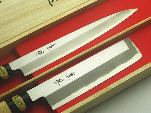 包丁セット 堺 重勝 一般向 和包丁 木箱入 2本組 と 柳刃包丁210 薄刃包丁165 プレゼント ギフトセット