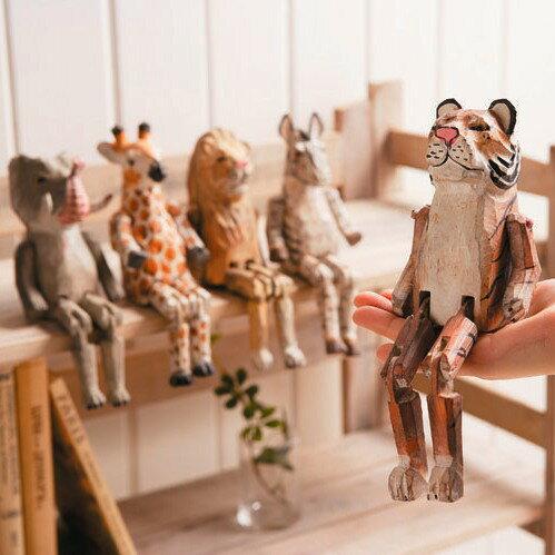 ぶさ可愛い木彫りの動物オブジェ! WOOD ANIMAL TOY