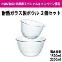 HARIO(ハリオ) 耐熱ガラス製ボウル2個セット 満水容量1500ml/2200ml