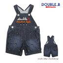 ダブルB【DOUBLE B】プチ刺繍★5分丈デニムオーバーオール(80cm・90...