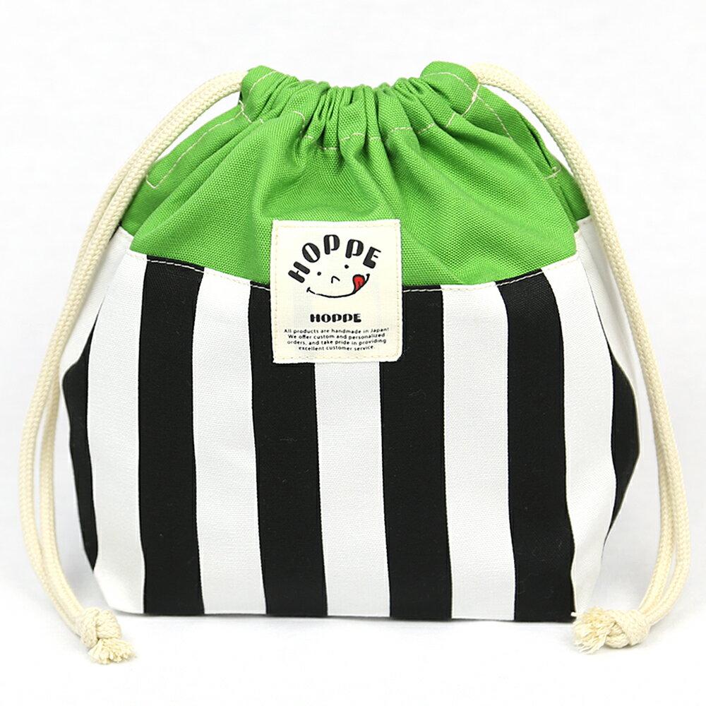 ブラックストライプ巾着MHOPPE(ホッペ)日本製手作り入園入学準備入園入学グッズ通園通学お弁当箱入