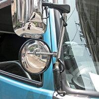トラック用補助ミラー・丸棒タイプ・平面ミラー・グレー枠色・ウロコ調