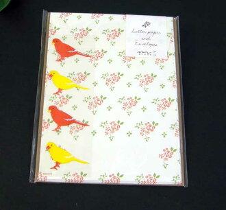 是小文具信金絲雀圖案印章 midori Midori 86385006 (30) 信紙和信封
