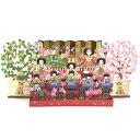 春カード/ひな祭り立体カード S2412 レーザーひな壇左右に橘桜 サンリオ