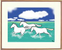 額付きイラスト 〜夏色〜馬のイラストレーター おがわじゅり 直筆サイン入り送料無料