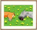 額付きイラスト 仲良くおひるね 馬のイラストレーター おがわじゅり 直筆サイン入り≪送料込≫