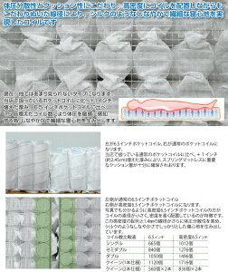 【日本製/3年保証】高密度6.5インチポケットコイルマットレス/シングル(幅97cm)/抗菌・防臭・防ダニ綿入りヘリンボーン生地(高級キルティング加工)/【Mar】