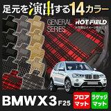 【消臭?抗菌】 BMW X3 (F25) フロアマット+トランクマット ◆ 選べる11カラー HOTFIELD