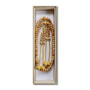 数珠 般若心経彫り 柘植 梵天房 金茶色 尺二 真言宗 本連・本式数珠 念珠 送料無料