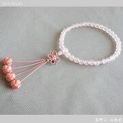 数珠 (女性用 略式) 京念数/全宗派対応/紅水晶7mm 利久梵天 華結び 送料無料