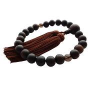 数珠(男性用 略式)京念珠/全宗派対応/素挽 縞黒檀 22珠 (茶水晶) 正絹房 送料無料
