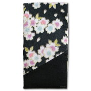 念珠入れ/数珠入れ/数珠袋 縦型マジックテープ付 三色桜(黒) 送料無料 送料込み (※送料無料はメール便のみ)