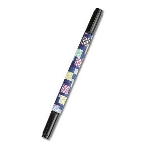 筆ペン 小紋市松柄 白檀香り付き 太・細 両用 送料込