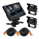 バックカメラセット(カメラ2台) LED18灯 接続用20mケーブル×2 DC12/24V対応 IP...