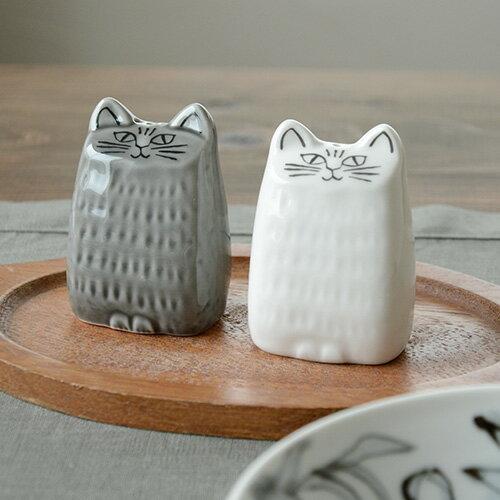 リサラーソン ねこのソルト&ペッパー 美濃焼/白がソルト、グレーがペッパーの2個セット【調味料入れ カトラリー 北欧雑貨 リサ・ラーソン ネコ 猫 テーブルウェア】 LL877