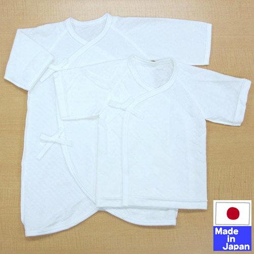 日本製秋・冬向けのニットキルトあったか肌着セット(短肌着+コンビ肌着)(外縫い)新生児サイズ50-6