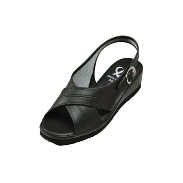ピュアウォーカー ベーシック PW7602 ブラック 人気のクロスベルト 足元すっきりきれいに【シンプル・軽い・やわらか・滑りにくい】【ナースサンダル・ナースシューズ・看護用・院内用シューズ】