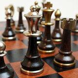 【真鍮製 チェス駒】ITAL FAMA社 ブラス製チェス駒スタントン ウッドスタンド