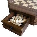 【引き出し付きの可愛らしいチェスセット】木製八角形チェスセッ...