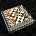 【ガラス素材が美しい、イタリア製ミニサイズチェスセット】チェスセット1787金属製チェス駒+ガラスチェスボードボックス