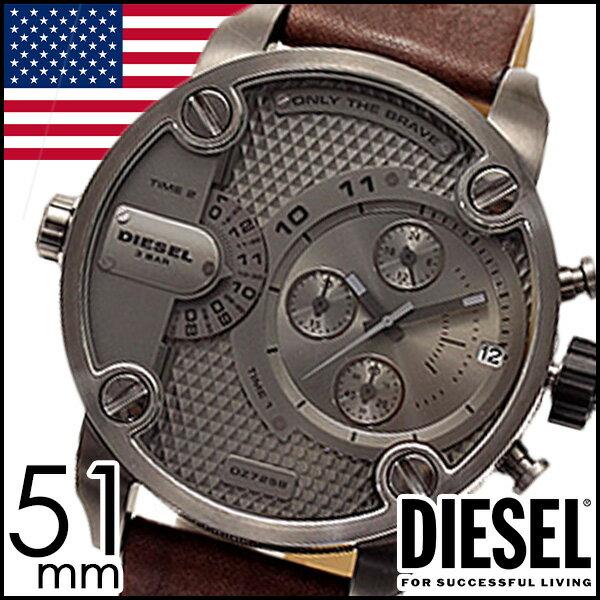 ディーゼル 時計 DIESEL時計 ディーゼル 腕時計 DIESEL 腕時計 ディーゼル時計 DIESEL 時計 ディーゼル腕時計 DIESEL腕時計 デュアルタイム リトルダディー LITTLE DADDY メンズ/ガンメタル DZ7258[革ベルト/革/レザー/クロノグラフ/黒/白/ブラック/ホワイト] [ クリスマス ]