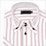 半袖切り返し襟 レッドストライプ ワイシャツ ボタンダウン 半袖ワイシャツ メンズ 半袖 Yシャツ 豊富なサイズ ビジネス 形態安定 スリム 白 ワイド 黒 シャツ 長袖 など多数通販価格[ドレスシャ