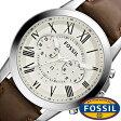 フォッシル腕時計 FOSSIL時計 FOSSIL 腕時計 フォッシル 時計 グラント GRANT メンズ/ホワイト FS4735 [革 ベルト/クロノ グラフ/ブラウン/シルバー/アイボリー/クリーム/ファッション/人気][送料無料]