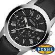 フォッシル腕時計 FOSSIL時計 FOSSIL 腕時計 フォッシル 時計 グラント GRANT メンズ/ブラック FS4812 [革 ベルト/クロノ グラフ/オールブラック/シルバー/ファッション/人気/フォーマル]