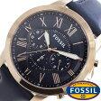 フォッシル腕時計 グラント GRANT フォッシル 時計 FOSSIL時計 FOSSIL 腕時計 メンズ/ブルー FS4835 [革 ベルト/クロノ グラフ/ネイビー/ローズゴールド/ピンクゴールド/ファッション/人気/フォーマル] 02P28Sep16