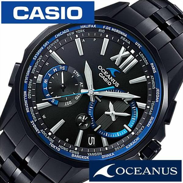 【正規品】【5年延長保証】 カシオ腕時計 CASIO時計 カシオ 時計 オシアナス マンタ OCEANUS Manta メンズ ブラック OCW-S3400B-1AJF [ 流行 ブランド 防水 チタン ベルト ブルー ] [ 20代 30代 40代 50代 60代 ][ 父の日 ][ 誕生日 ][ ハイブリッドスタイルは各種プレゼント・ギフトに対応いたします! ]