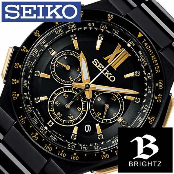 【正規品】【5年延長保証】 セイコー 腕時計 ( SEIKO 腕時計 セイコー 時計 ) ブライツ ( BRIGHTZ ) メンズ 腕時計 ブラック SAGA212 [ メタル ベルト ソーラー 電波修正 クロノグラフ 防水 限定 800本 ゴールド クリスタル ストーン ] SEIKO腕時計 [ セイコー時計 ] SEIKO 腕時計 セイコー 時計 ブライツ ( BRIGHTZ ) [ 新社会人 卒業祝い 就職祝い 時計 ]
