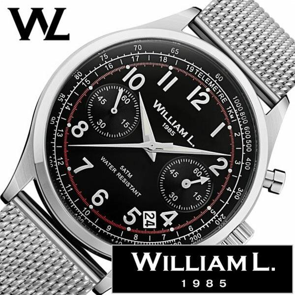 ウィリアムエル 腕時計 メンズ レディース [ William L 1985 時計 ] クロノグラフ ( Chronographs ) ブラック WLAC01NRMM [ 正規品 ブランド 防水 スイス シンプル メッシュ メタル ベルト プレゼント シルバー ] [ 20代 30代 40代 50代 60代 ][ 父の日 ][ 誕生日 ][ ハイブリッドスタイルは各種プレゼント・ギフトに対応いたします! ]