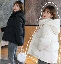キレイめレディース ダウンコート ダウンジャケット 暖かい 体型カバー 中綿コート フード付き 軽い 20代30代40代 ショート丈コート M/..