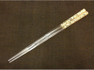 Chopsticks made by clear chopsticks gilt thread plastic