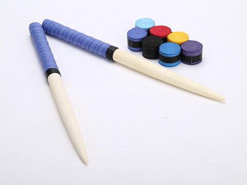 激安!定形外送料無料 グリップ7色付 太鼓の達人 マイバチ/35cm/グリップカラー藍色/朴の木/ロール仕様/テーパー加工/交換用グリップ7色付(赤、空、青、藍、黄、黒、紫)/アーケードゲーム/wii/握りやすい特性グリップ/ドン、連打、高得点/ロール/初心者〜上級者まで