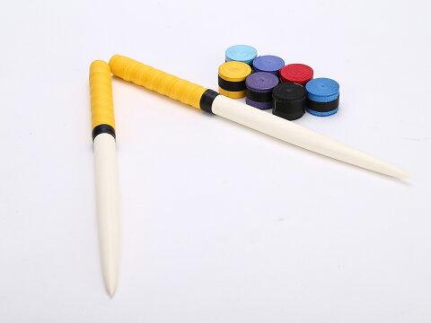 激安 定形外送料無料 グリップ7色付太鼓の達人 マイバチ/35cm/グリップカラー黄色/朴の木/ロール仕様/テーパー加工/交換用グリップ7色付(赤、空、青、藍、黄、黒、紫)/アーケードゲーム/wii/握りやすい特性グリップ/ドン、連打、高得点/ロール/初心者〜上級者まで
