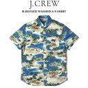 ショッピングsailing J.CREW (ジェイクルー) SLIM FLEX WASHED S/S SHIRT_ プリント半袖シャツ SAILING LAGOON