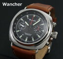 【1007】【WANCHER/ワンチャー】【腕時計】Wancher pace Chronograph/スペースクロノグラフ ブラウン機械式手巻き 1970年代の魅力軍用時計の歴史 シースルーバック【Wancher】【即納/送料無料】