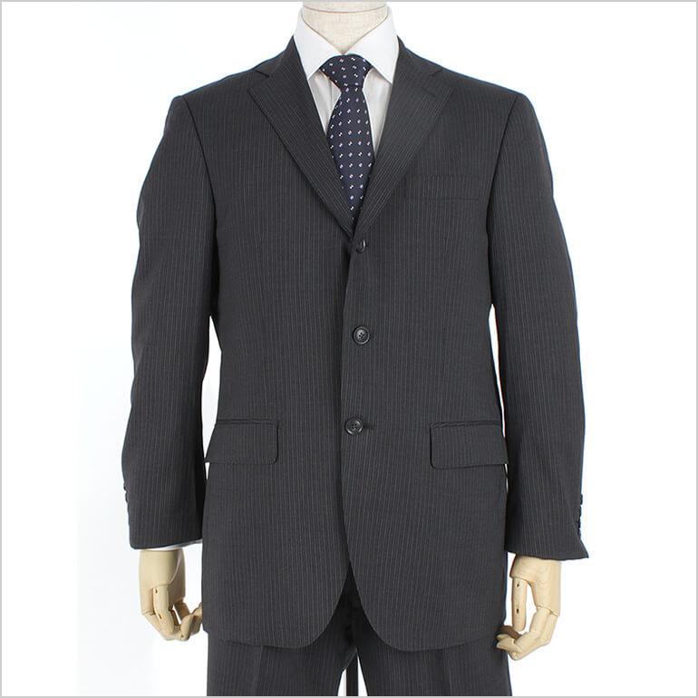 【あす楽】リクルートスーツ[ストライプ]セットアップ [ センターベンツ/ワンタック ] スーツ [ 2つボタン ] メンズ [ ブラック系 ブラック ] ビジネススーツ [ フォーマル 紳士服 3ボタン 3釦 ドレススーツ ]【送料無料】