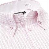長袖切り返し襟 ピンクストライプ ワイシャツ ボタンダウン 長袖ワイシャツ メンズ 長袖 Yシャツ 豊富なサイズ ビジネス 形態安定 スリム 白 ワイド 黒 シャツ 半袖 など多数