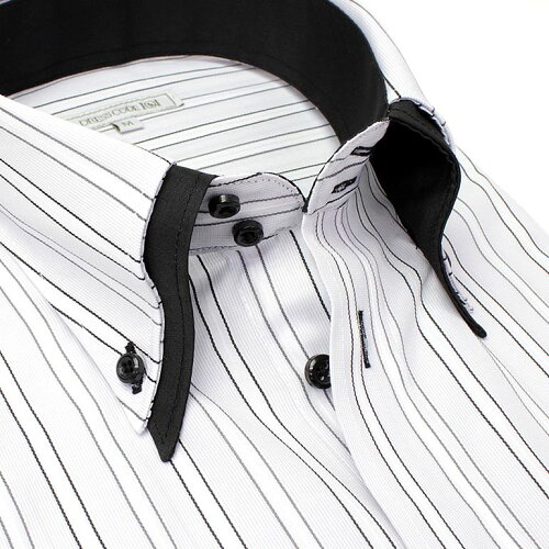 当店人気商品 襟高デザイン 半袖 ドレスシャツ 半袖ワイシャツ Yシャツ 形態安定 メンズ ワイシャツ 結婚式 ビジネス 黒 グレー 黒 2枚衿 ドゥエボットーニ ボタンダウン ストライプ 春 夏 クールビズ S M L LL 3L カッターシャツ