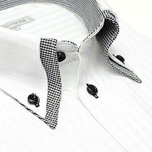 ホワイト ストライプ デザイン ワイシャツ ヒューズ ビジネス