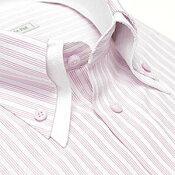【当店人気商品】襟高デザイン ドレスシャツ 長袖 ワイシャツ Yシャツ 形態安定 メンズ 長袖ワイシャツ ビジネス 結婚式 白 ホワイト ピンク ストライプ 2枚衿 ボタンダウン 大きいサイズ 秋 冬 カッターシャツ あす楽 春夏 スリム S M L LL 3L
