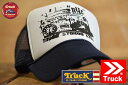 TRUCK BRAND キャップ メンズ メッシュキャップ レディース トラックブランド 帽子 プリント ロゴ アメカジ S11 SPRAY WHITE/NAVY ホワイト/ネイビー 白 紺