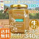 秋のお試しSALE マヌカハニー[生タイプ]340g 送料無料 酵素が活きているワイルドハニーMG/MGO100+(or200+)天然,非加熱マヌカ蜂蜜 pn