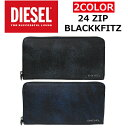 DIESEL/ディーゼルX03800 P0396/BLACKKFITZ 24 ZIP二つ折り/長札/長財布/メンズ/レディース